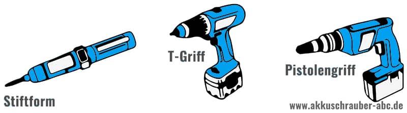 Drei Akkuschrauber Formen: Stiftform, T-Griff und Pistolengriff